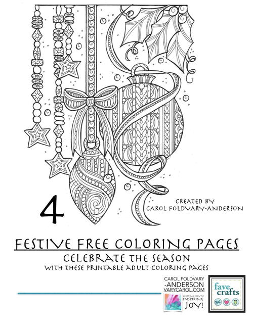 4 festive holiday coloring pages for adults - Free Holiday Coloring Pages