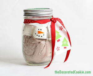 Homemade Snowman Hot Chocolate Jars