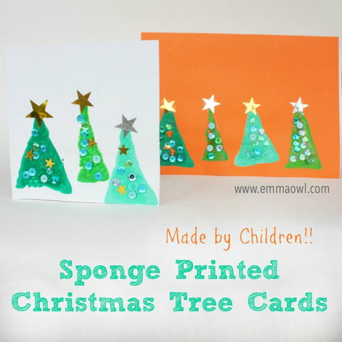 Easy Sponge Printed Christmas Trees