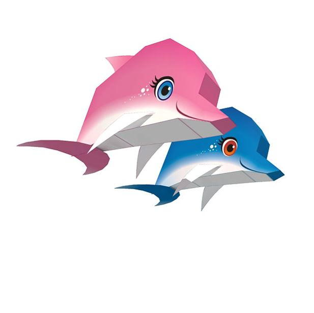 Dolphin duo printable paper craft allfreepapercrafts pronofoot35fo Choice Image