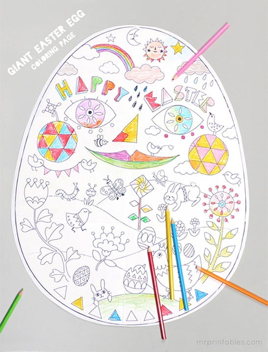 Your Kids Will Adore This Giant Easter Egg Coloring Page Free Features A Large Design With Ton Of Cute Imagery In Its Shell