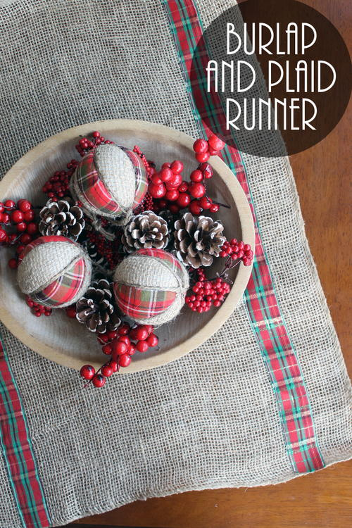 burlap and plaid table runner for christmas - Christmas Plaid Table Runner