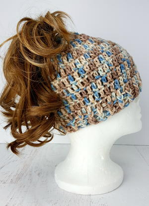 "Easy to Crochet ""Messy Bun"" Hat"