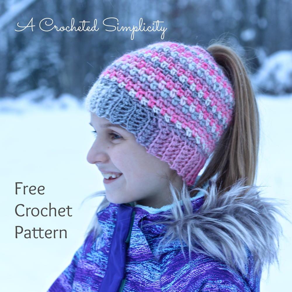 Linen Stitch Messy Bun Hat | AllFreeCrochet.com