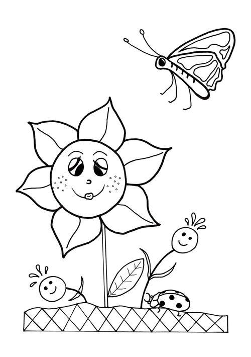 Dancing Flowers Spring Coloring Sheet   AllFreeKidsCrafts.com