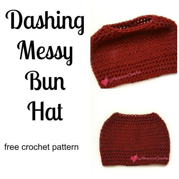 Dashing Messy Bun Hat | AllFreeCrochet.com