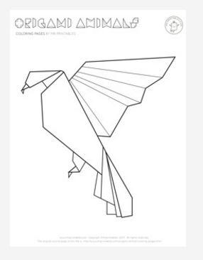 origami crane coloring pages   Origami Bird Coloring Page   FaveCrafts.com