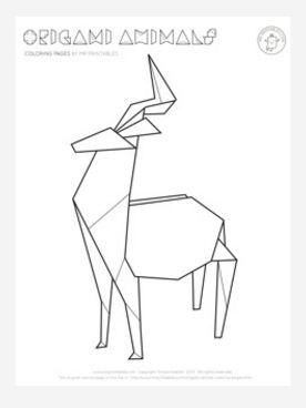Origami Deer Coloring Page | FaveCrafts.com
