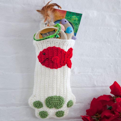 Purrfect Paw Crochet Christmas Stocking