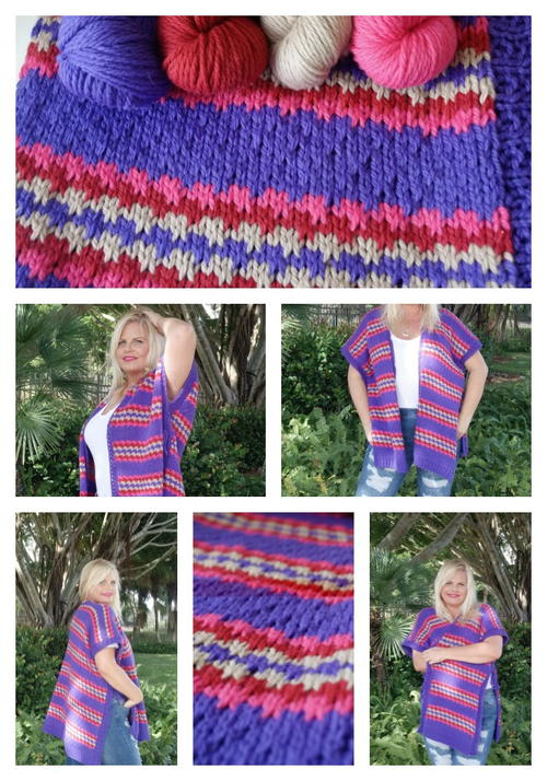 Brave Colorful Knit Ruana Allfreeknitting
