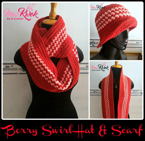 Berry Swirl Hat and Scarf