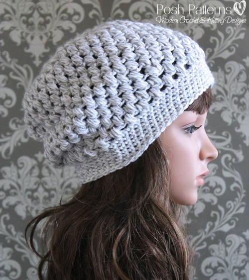 Puff Stitch Slouchy Hat Allfreecrochet