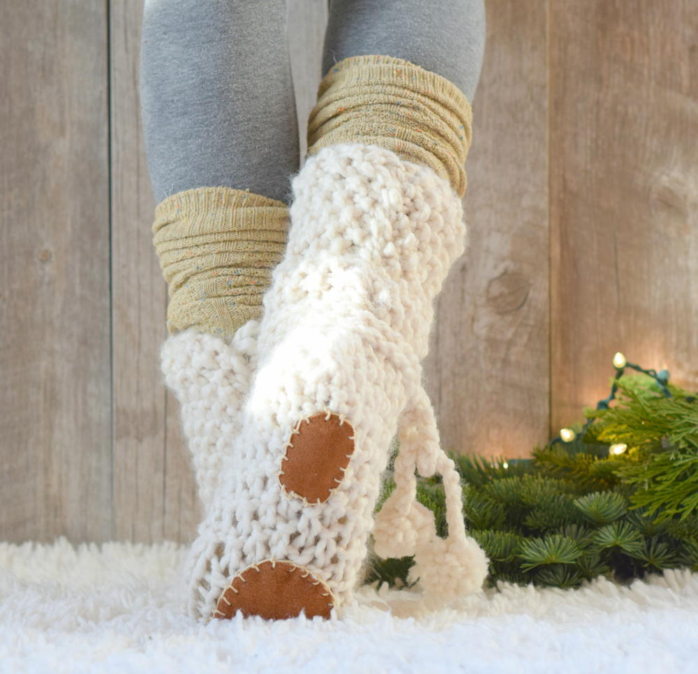 Mountain Chalet Knit Flat Slipper Boots   FaveCrafts.com