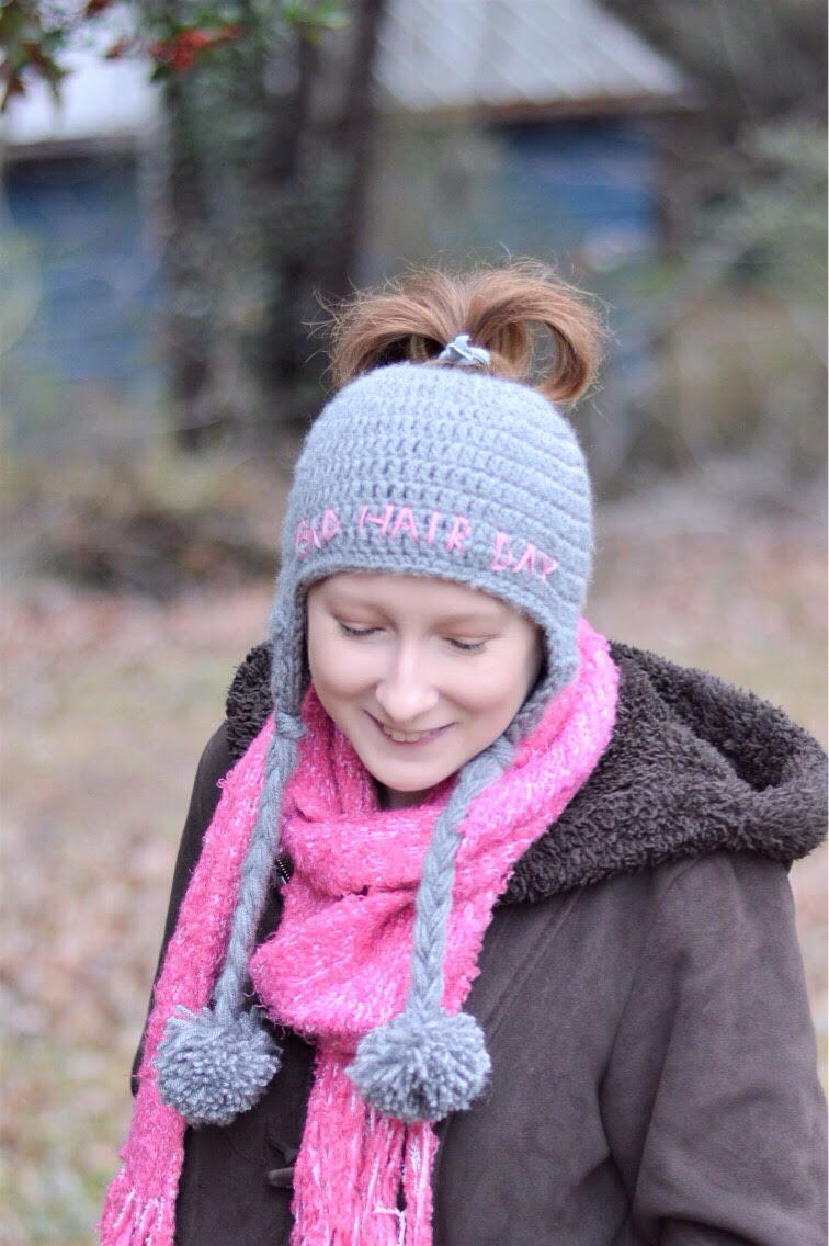 Bad Hair Day Messy Bun Ear Flap Hat | AllFreeCrochet.com