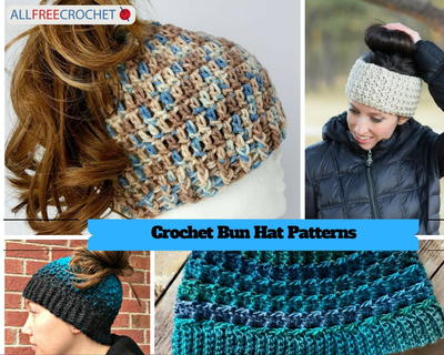 40 Messy Bun Hat Patterns AllFreeCrochet Simple Ponytail Beanie Crochet Pattern