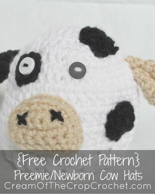 Preemie/Newborn Cow Hat   AllFreeCrochet.com