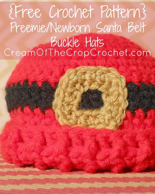 Preemienewborn Santa Belt Buckle Hat Allfreecrochet