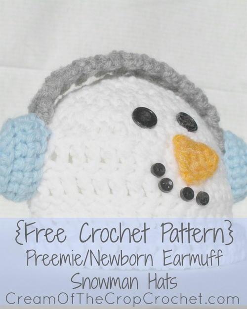 Preemienewborn Earmuff Snowman Hat Allfreecrochet