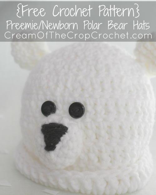 Preemie/Newborn Polar Bear Hat   AllFreeCrochet.com