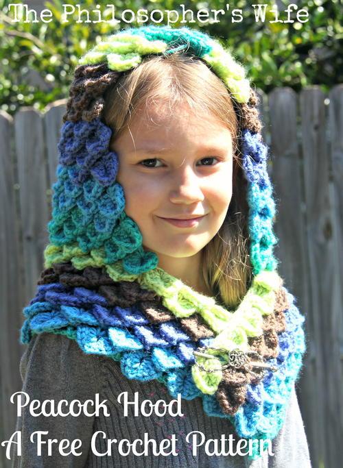 Peacock Hood Allfreecrochet