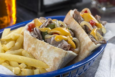 Philly Cheese Steak Pitas