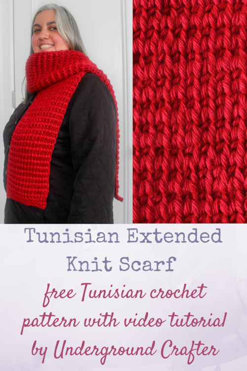 Tunisian Extended Knit Scarf Allfreecrochet