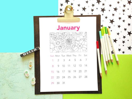 Printable coloring calendar 2017: January