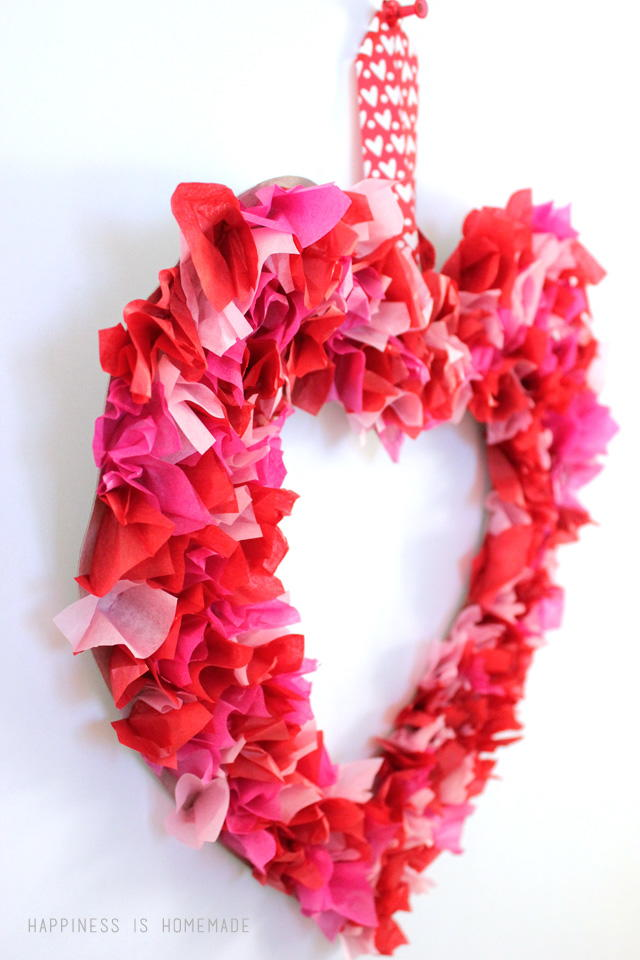 paper craft ideas for valentines day tissue paper s day wreath allfreeholidaycrafts 7858