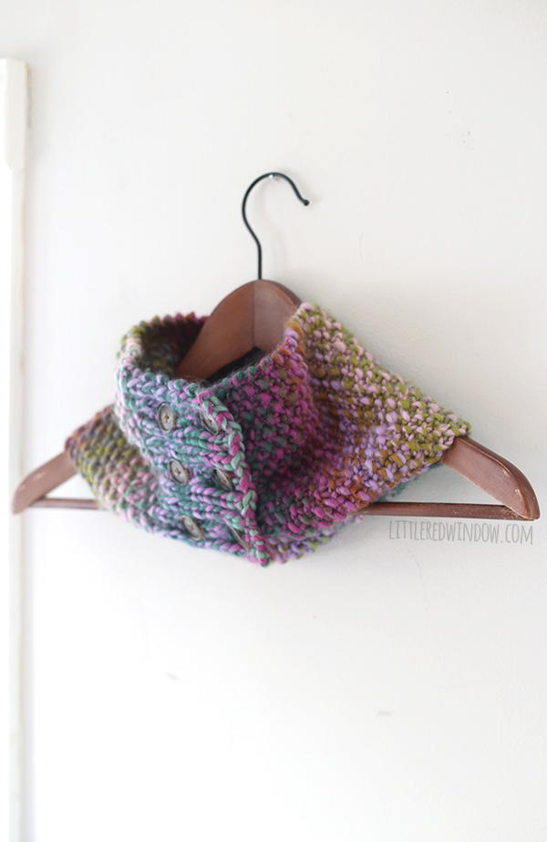 Buttoned Up Knit Cowl | AllFreeKnitting.com