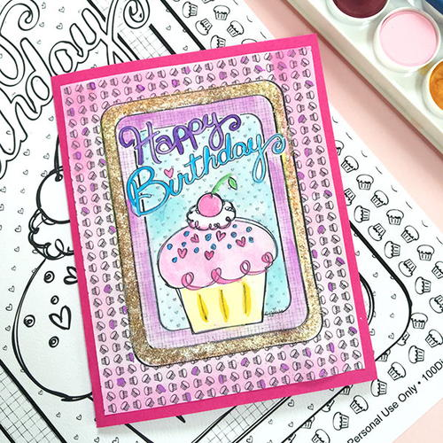 Coloring Page DIY Birthday Card