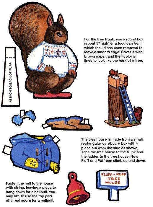 Fluff and Puff Squirrel Paper Dolls