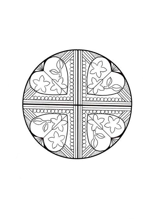 Heart Quartet Mandala Coloring Page FaveCraftscom