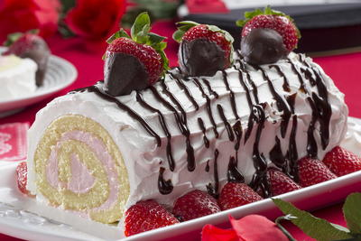 Strawberries and Cream Roll Cake
