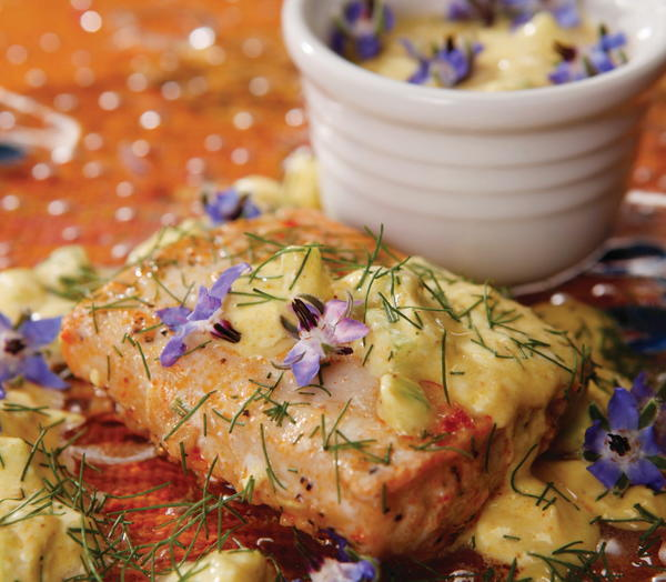 Baked Salmon with Borage Raita