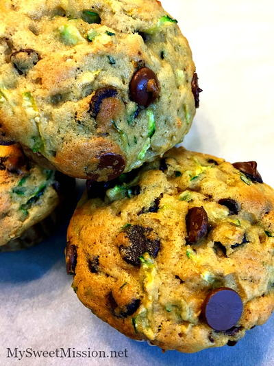 Moist Chocolate Chip Zucchini Muffins