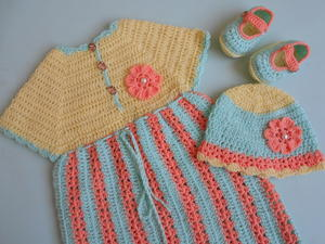Crochet Stripe Baby Frock / Dress