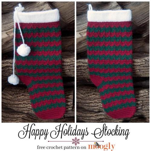 Happy Holidays Stocking Allfreecrochet