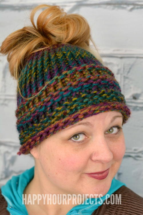 Loom Knit Messy Bun Hat Favecrafts