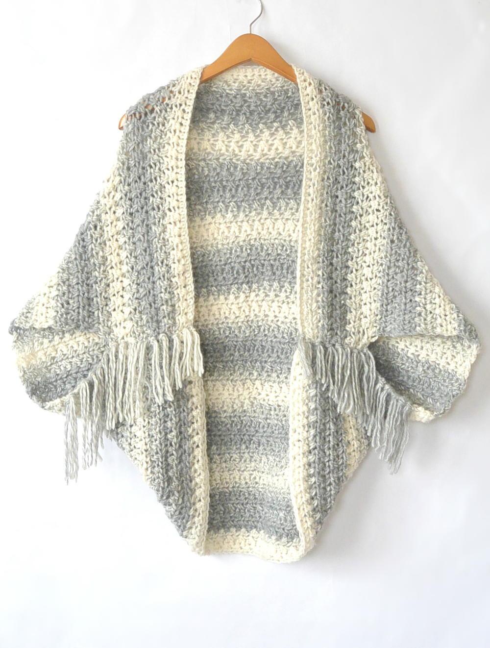 Easy Light Frost Crochet Blanket Sweater Shrug | AllFreeCrochet.com