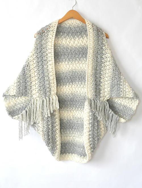 Easy Light Frost Crochet Blanket Sweater Shrug   AllFreeCrochet.com