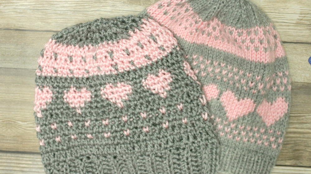 Crochet Fair Isle And Knit Stitch Hearts Hat