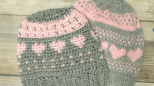 Crochet Fair Isle and Knit Stitch Hearts Hat | AllFreeCrochet.com