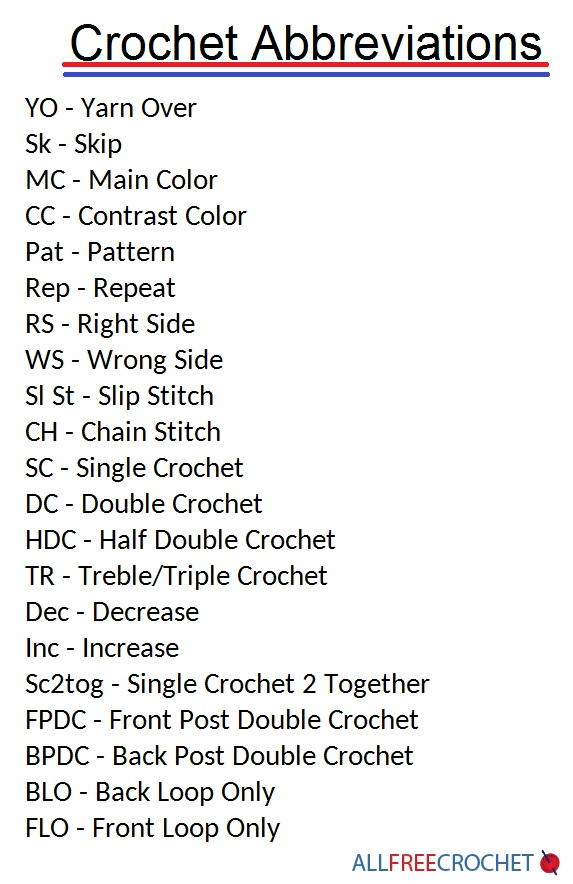 Crochet Abbreviations List (Download) | AllFreeCrochet.com