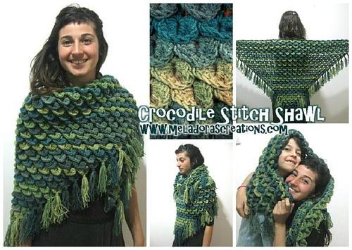 Fashion Forward Crocodile Stitch Shawl   AllFreeCrochet.com