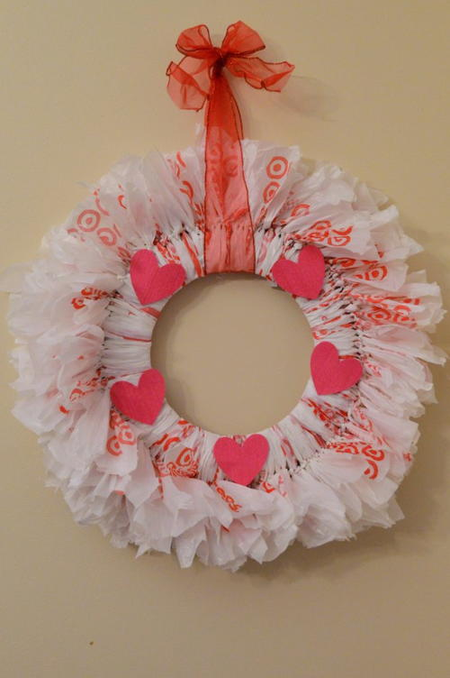 DIY Recycled Bag Rag Wreath for Valentine's Day
