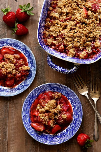 Strawberry, Raspberry, and Rhubarb Crisp