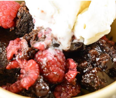 Slow Cooker Raspberry Chocolate Lava Cake