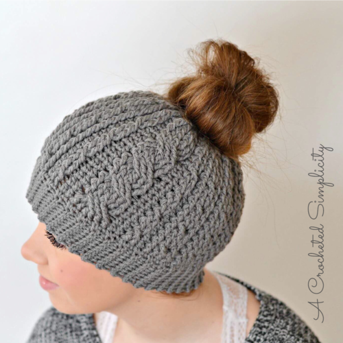 Cabled Messy Bun Hat AllFreeCrochet Interesting Bun Hat Pattern