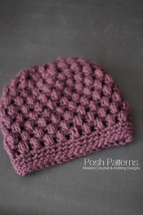 Puff Stitch Messy Bun Hat Crochet Pattern Allfreecrochet