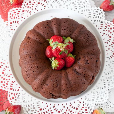 Chocolate Strawberry Yogurt Cake